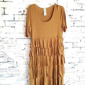DownEast Dark Mustard Ruffle Shift T-Shirt Dress